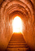 Light at end of tunnel in castle — Stock Photo