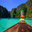 Traditional longtail boat in Maya bay on Koh Phi Phi Leh Island, — Stock Photo #48398661