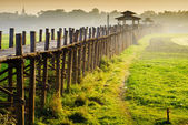 Ubein Bridge at sunrise, Mandalay, Myanmar — Stock Photo