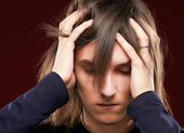 Portrait of sick man having a migraine  — Stock Photo