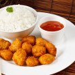 Sweet and sour battered pork balls - Stock Photo