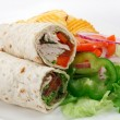 Stock Photo: Sliced wraps and salad
