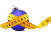 Christmas Bauble tape measure — Stock Photo