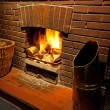 Stock Photo: Cosy roaring log fire