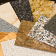 Kitchen worktop sample swatches — Stock Photo