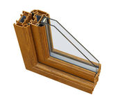 UPVC wood effect Double glazing cross section — Stock Photo