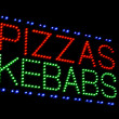 Pizzas kebabs light emitting diode sign — Stock Photo