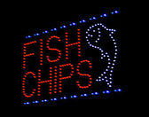 Fish and chip light-emitting diode sign — 图库照片