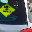 Stock Photo: Baby on board warning sign