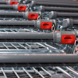 Supermarket shopping carts - Stock Photo