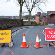 Stock Photo: British Road closed and diversion sign