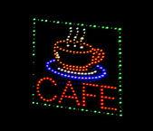 Cafe light emitting diode sign — Stock Photo