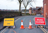 British Road closed and diversion sign — Stock Photo