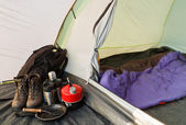 Dome tent camping interior — Stock Photo