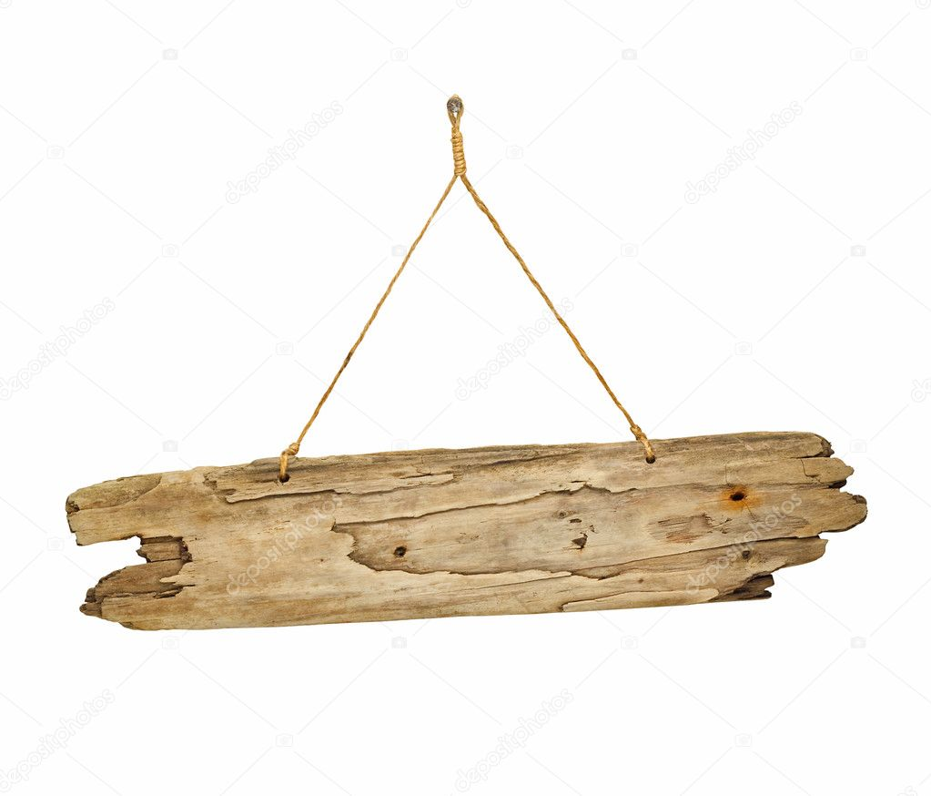 Wood Plank Sign : Driftwood wooden sign board on string — Stock Photo ...