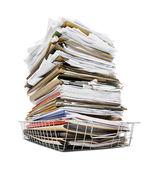堆的纸盘中的文件 — 图库照片
