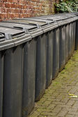 Row of residential wheelie bins — Stock Photo