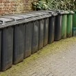 Stock Photo: Line of residential wheelie bins