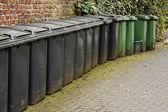 Line of residential wheelie bins — Stock Photo