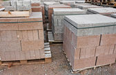 Skids of cinder blocks — Stock Photo