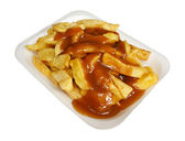 Chips and gravy — Stock Photo