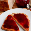 Foto Stock: Mixed fruit jam on toast