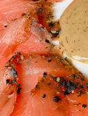 Gravlax smoked salmon slices — Stockfoto