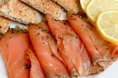Smoked salmon starter — Stock Photo