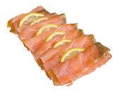 Plátky uzeného lososa — Stock fotografie