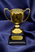 Gold Winners trophy on silk background — Stock Photo