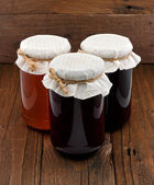 Set of three conserve jars — Stock Photo