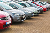 Row of different used cars — Stock Photo