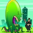 Stock Photo: Alien invader and fearless policeman