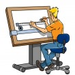 Engineer or designer at the drawing board — Stock Photo