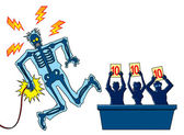 Man take the electrician shock in a ballroom shampionship — Stock Photo