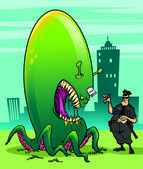 Alien invader and fearless policeman — Stock Photo