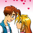 Romantic cartoon couple looking at each other  — Lizenzfreies Foto