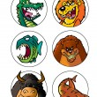 Scary cartoon animals set 1 — Stock Photo #26496623