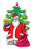 Santa Claus carrying a red sack with gifts & Christmas tree — Stockfoto