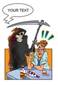 Party over! Drunk man and death. — Stock Photo