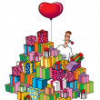 Funny lover man with heart balloon and a pile of gifts — Stock Photo