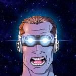 Man with futuristic 3-D glasses — Stock Photo