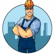 Male builder in orange helmet  — Stock Photo