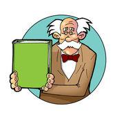 Senior man die zijn boek presenteert met lege omslag. — Stockfoto