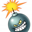 Cartoon bomb with evil face — Stock Photo