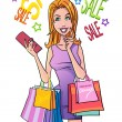 Stock Photo: Smiling womholding shopping bags and dreaming