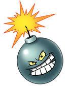 卡通炸弹与邪恶的脸 — 图库照片
