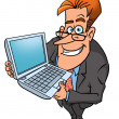 Stock Photo: Happy businessman with laptop
