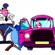 Stock Photo: Drunk driver and policeman