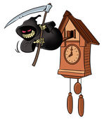 Time to Die. Grim reaper from cuckoo-clock. — Stock Photo